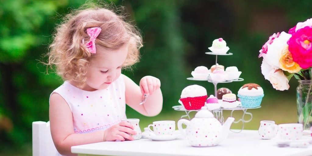 Little girl at tea party